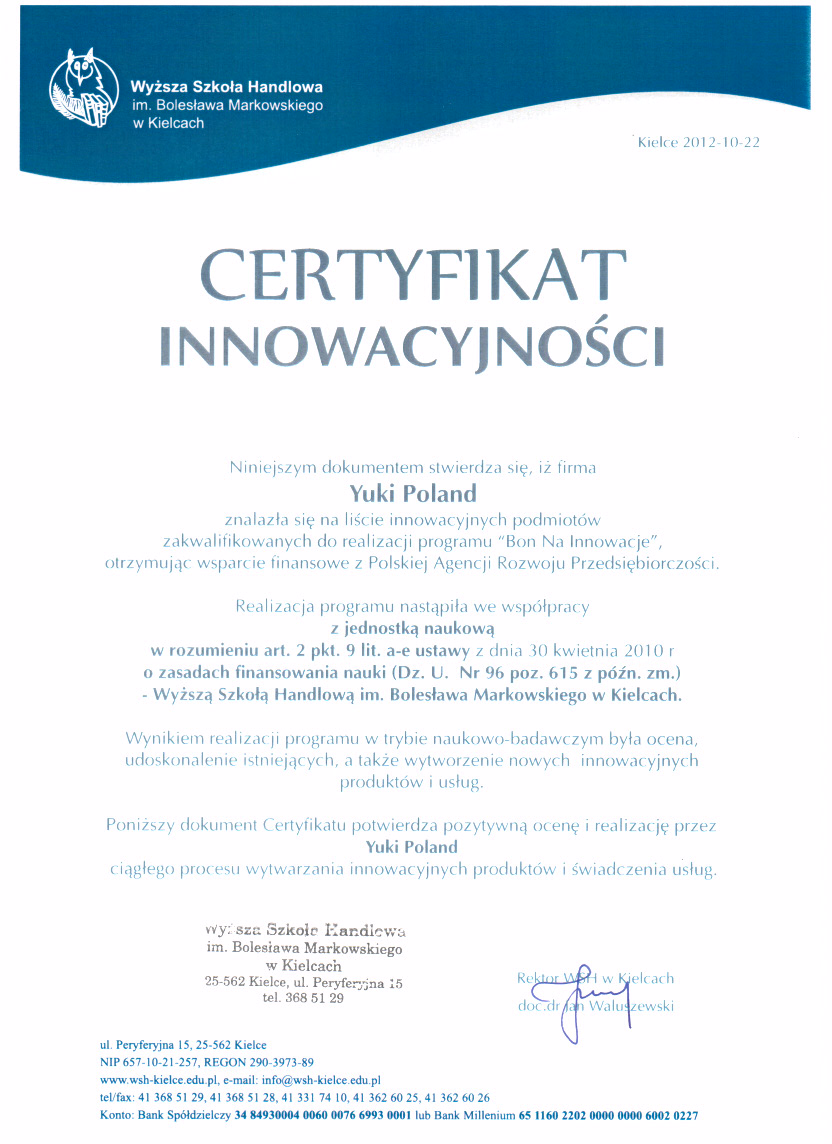 Innovation Certyficate